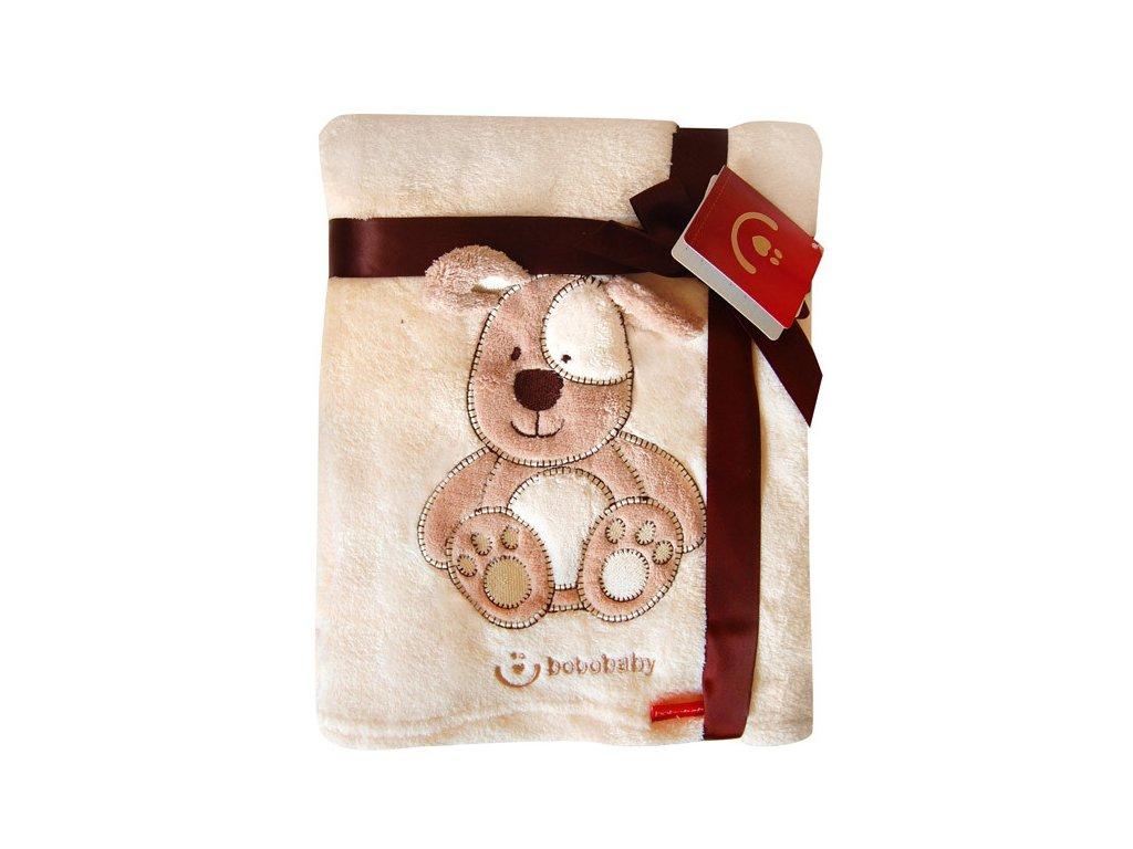 Dětská deka Bobobaby KCSN-08 76x102cm krémový pejsek