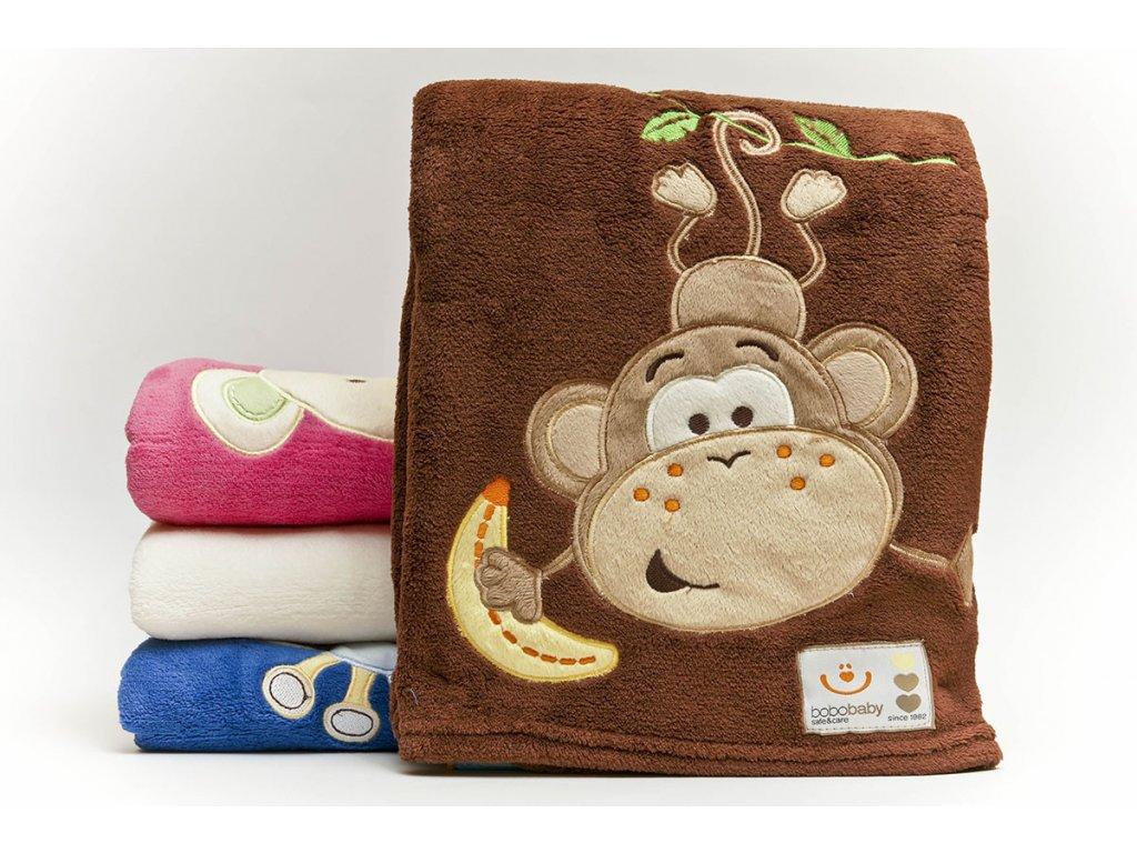 Dětská deka se zvířátkem opička 76x102 cm Bobobaby
