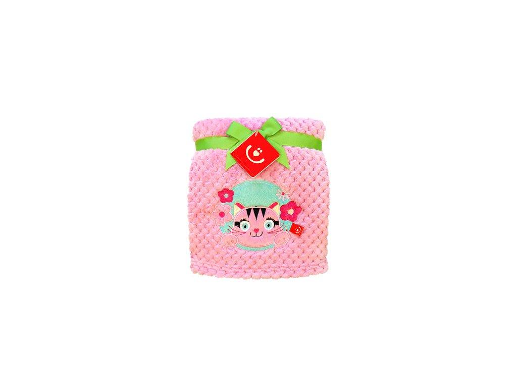 Deka dětská do postýlky z mikroplyše s 3D aplikací Bobobaby 76x102 cm růžová kočička KCSN-11