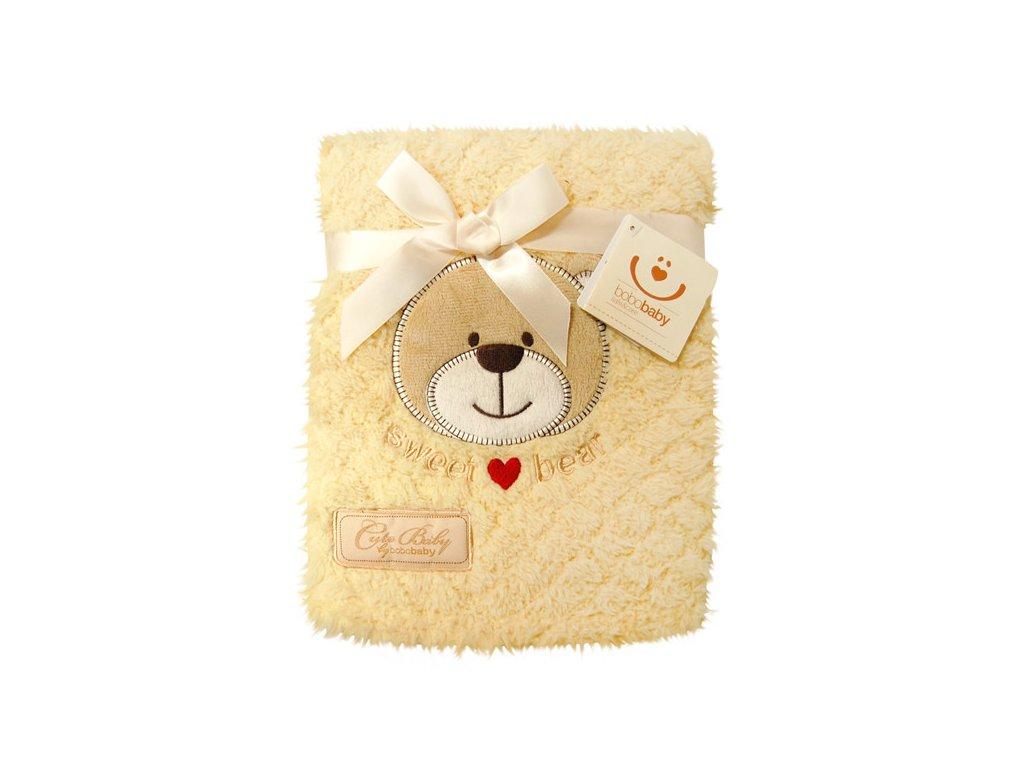 Exklusivní dětská deka s aplikací medvídek v dárkovém boxu Bobobaby žlutá 76x102 cm KCSN 12