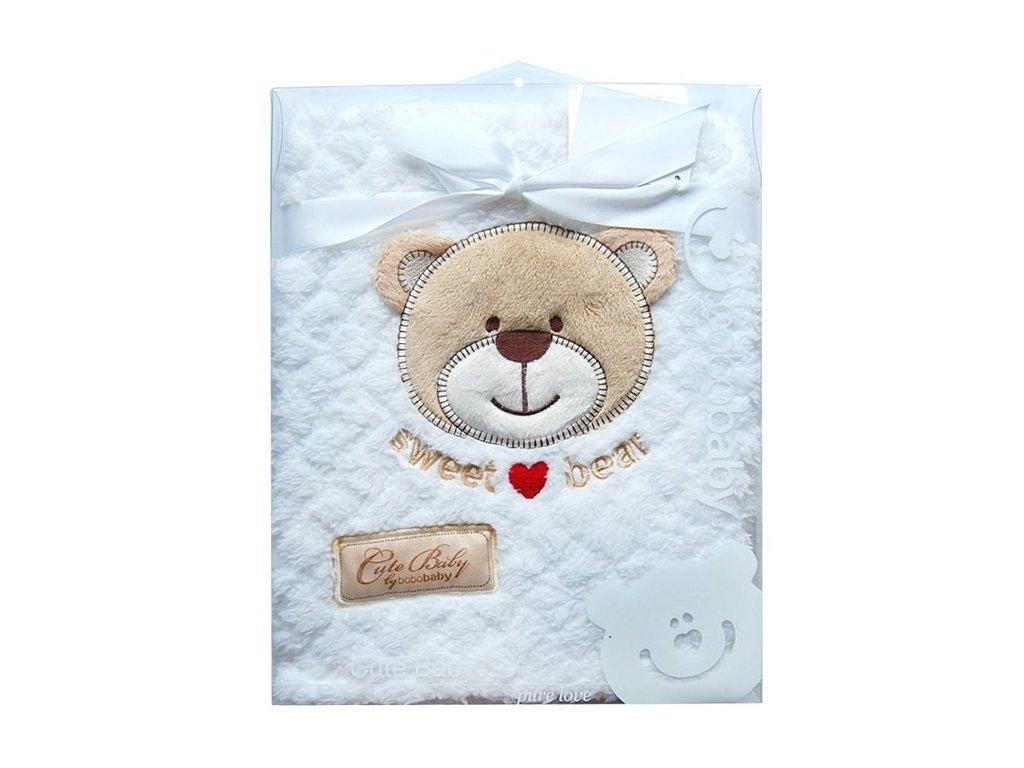 Dětská deka KCSN-12 exkluzivní s výšivkou medvídek dárkový box bílá Bobobaby