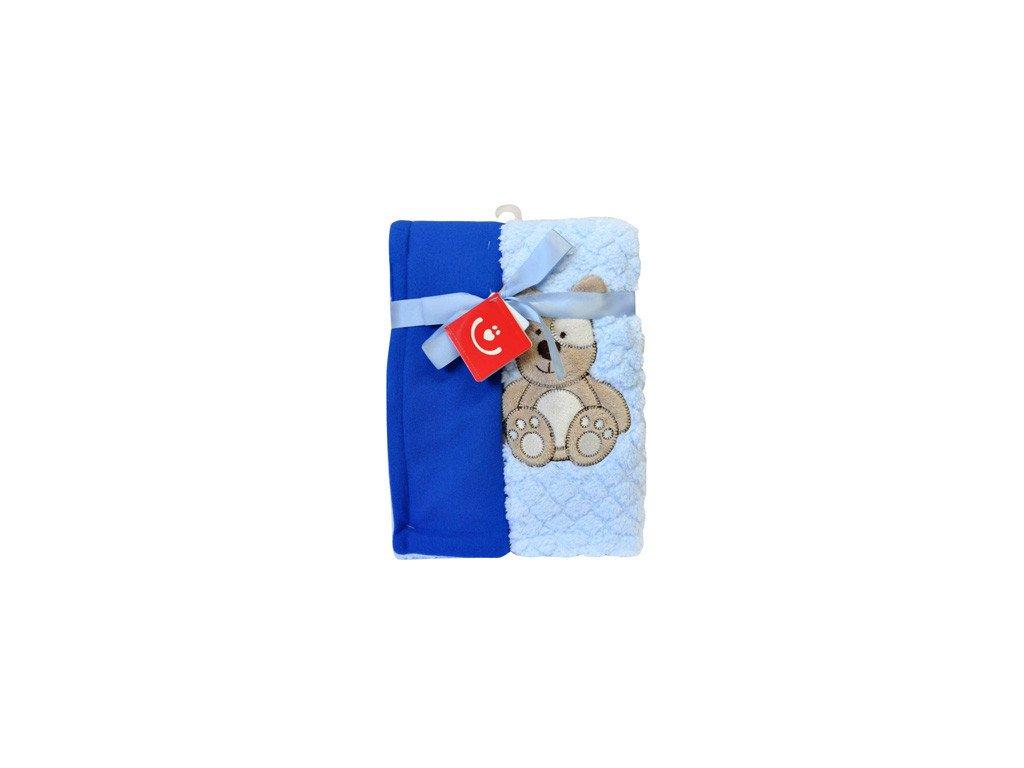 Dětská deka dvouvrstvá se zvířátkem 76x102 cm modrá Bobobaby KCSN 13