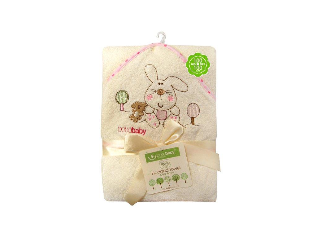 Dětská osuška bavlněná s kapucí Eco+žínka béžovo-růžový zajíček Bobobaby 76x76 cm