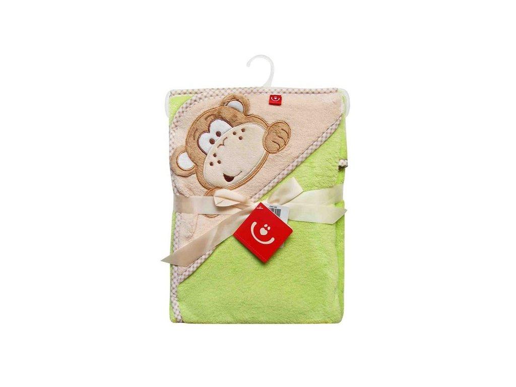 Osuška dětská s kapucí termofroté zeleno-béžová opička OKR-MF Bobobaby 76x80 cm