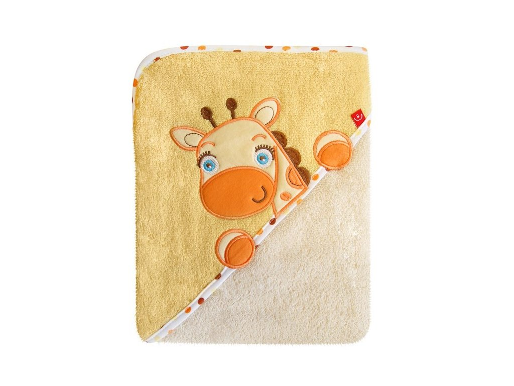 Kojenecká osuška s kapucí froté Bobobaby 76x76 cm žirafka