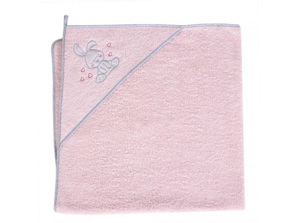 Froté ručník s aplikací a kapuckou (100x100) Králíček růžový