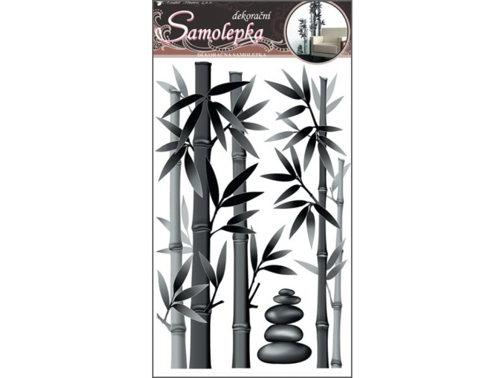 Samolepky na zeď bambus šedý 50x32cm