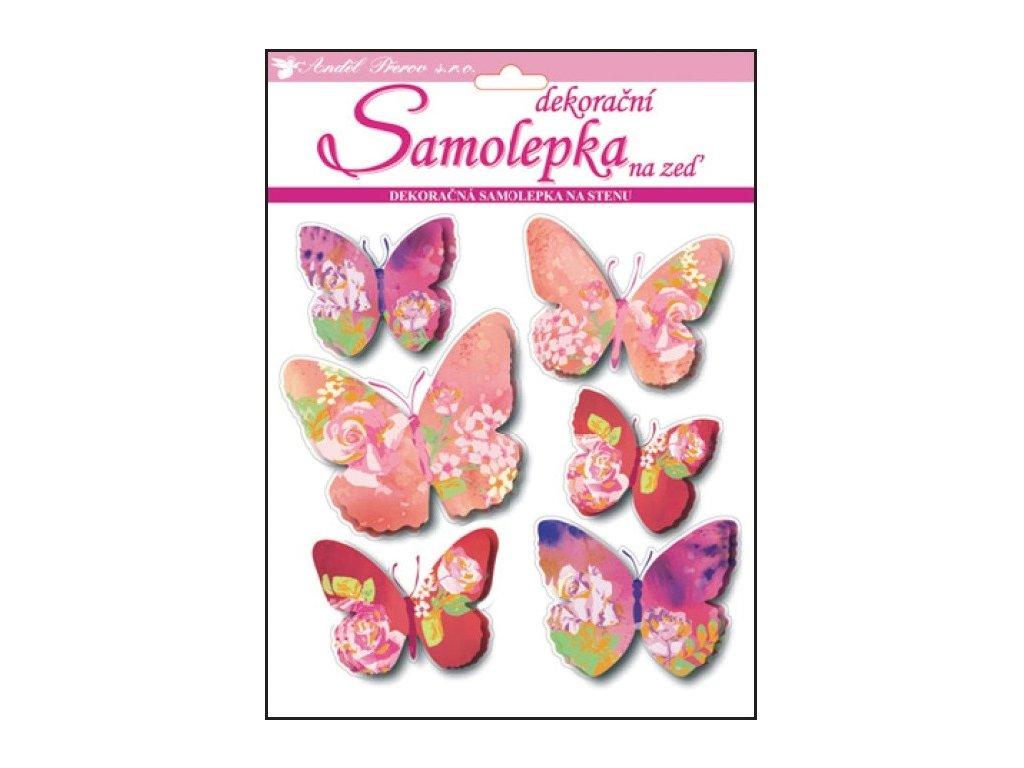 Samolepky na zeď 3D motýli s květinovým dekorem 20x20x1cm, 6ks