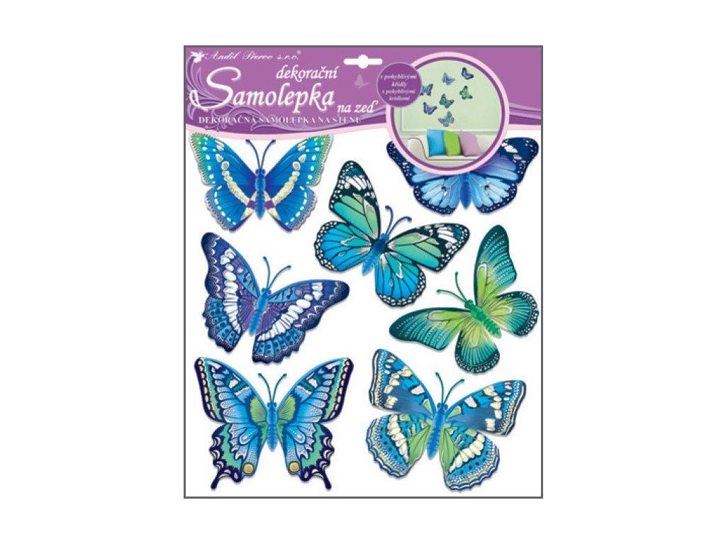 Samolepky na zeď motýli modří 30,5x30,5 cm