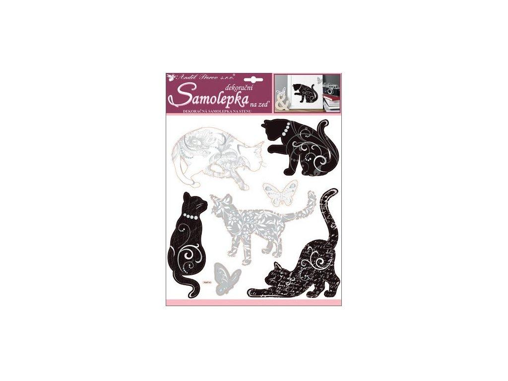 Samolepky na zeď kočky se stříbrným dekorem 38x31 cm