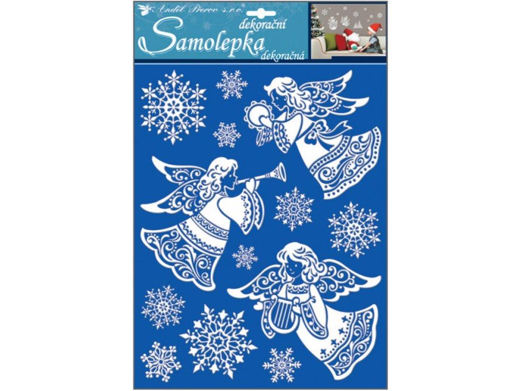 Samolepky andělé se sněhovým efektem 35 x 27,5 cm