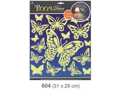 Pokojová dekorace svítící ve tmě motýli 31x29cm Anděl
