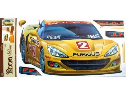 Pokojová dekorace - žluté auto 69 x 32 cm