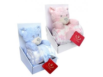 23051 detska deka s plysovou hrackou bobobaby medved modra