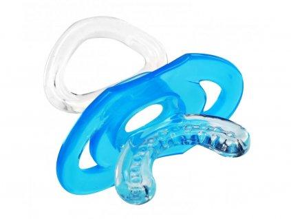 Silikonové masážní kousátko chladící dudlík s krytem Baby Ono modré