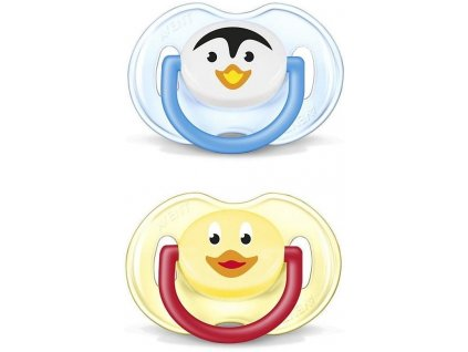 Avent šidítko silikon zvířátko 6 - 18 měsíců 2ks bez BPA ptáček+kuřátko