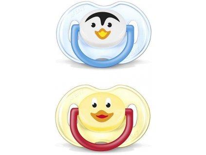 Philips Avent šidítko silikon zvířátko 6 - 18 měsíců 2ks bez BPA ptáček+kuřátko