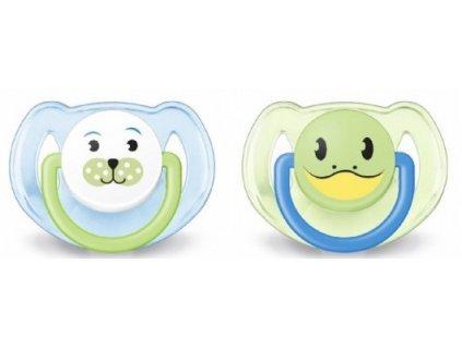 Philips Avent Šidítko Zvířátko 6-18 měsíců bez BPA 2ks žabička+pes