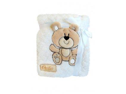 Dětská deka tlačený vzor se zvířátkem bílý medvídek KCSN-02 76x102 cm Bobobaby