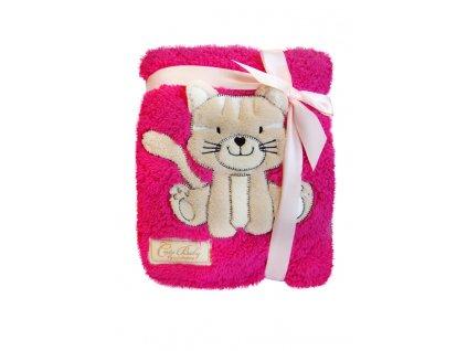 Dětská deka se zvířátkem tlačený vzor růžová kočička KCSN-02 76x102 cm Bobobaby