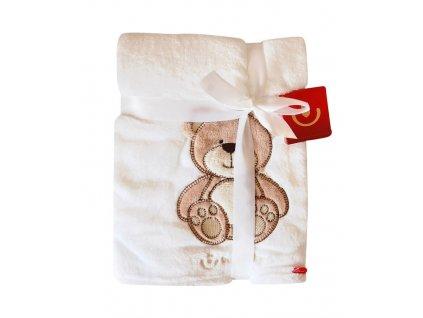 Dětská deka z mikrovlákna s 3D zvířátkem 76x102cm Bobobaby bílý medvídek