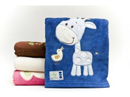 Dětská deka se zvířátkem 76x102 cm Bobobaby modrá žirafa KCSN 10