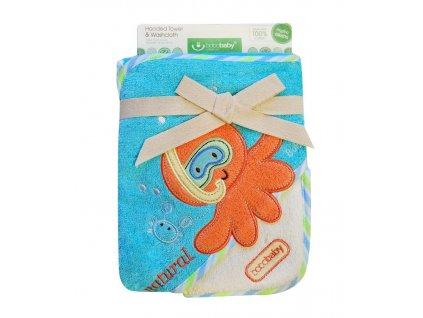 Osuška dětská s kapuckou a žínkou Eco Bobobaby chobotnička 76x76 cm