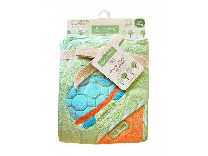 Osuška dětská Eco s kapucí + žínka Bobobaby 76x76 cm želvička