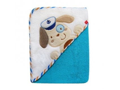 Osuška kojenecká s kapucí froté Bobobaby 76x76 cm modrý pejsek