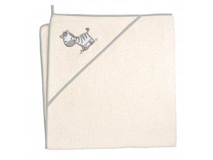 Froté ručník s aplikací a kapuckou Zebra béžová
