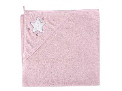 Froté ručník s aplikací a kapuckou (100x100) Hvězda růžová