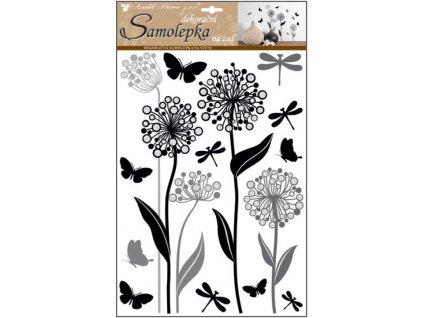Samolepky na zeď květiny s glitry 41 x 29 cm