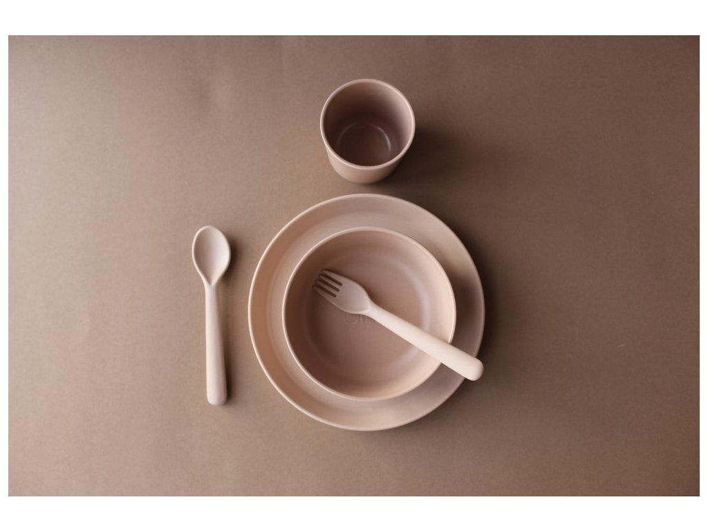 Cink bambusový set rye - talíř, miska, kelímek a příbor