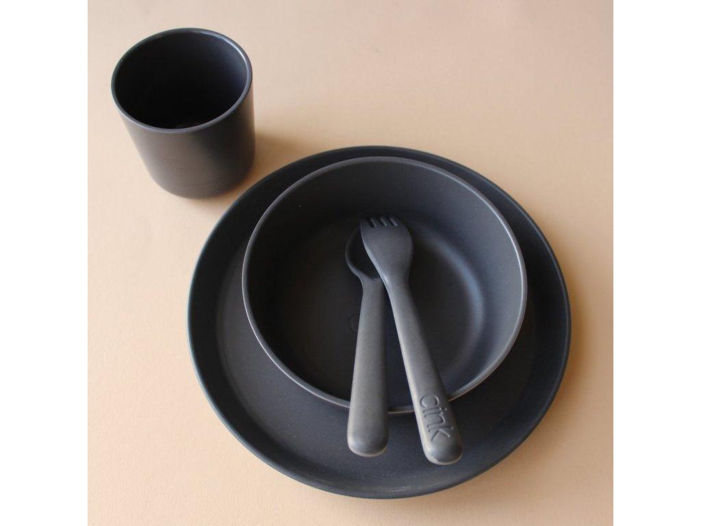 Cink bambusový set ocean - talíř, miska, kelímek a příbor