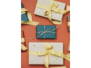 flat lay christmas gifts with golden stars 23 2148343359