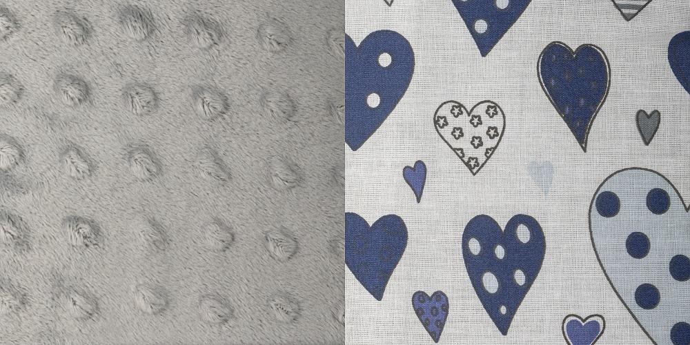 Minky šedá + tmavě modrá srdíčka
