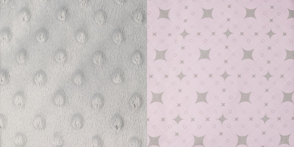 Minky šedá + růžové hvězdičky
