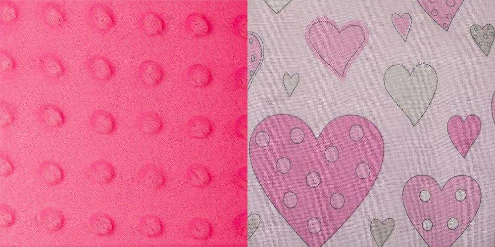 Minky tmavě růžová + srdíčka