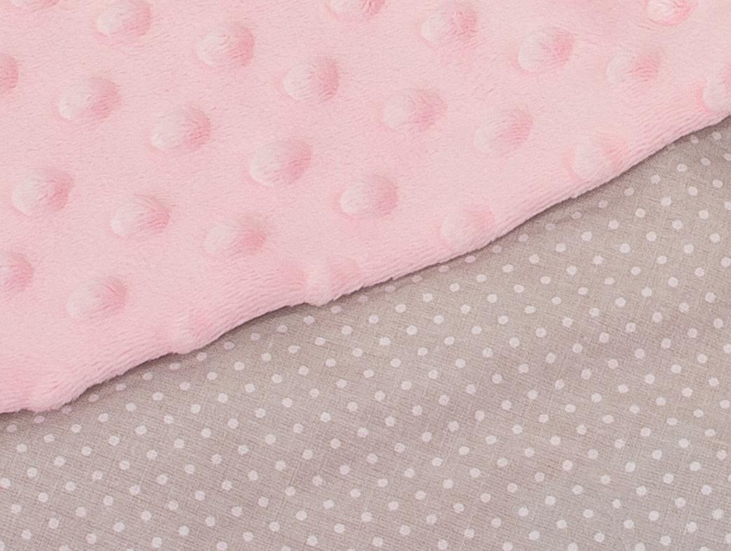 Minky růžová + tečky na světle šedé
