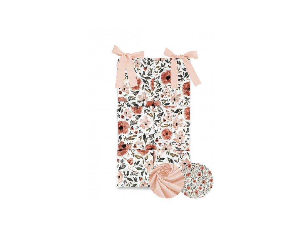 miminu kapsář příborník k postýlce na postýlku na zavazování bavlněný růžový broskvový meruňkový květy květiny květinový pro holčičku
