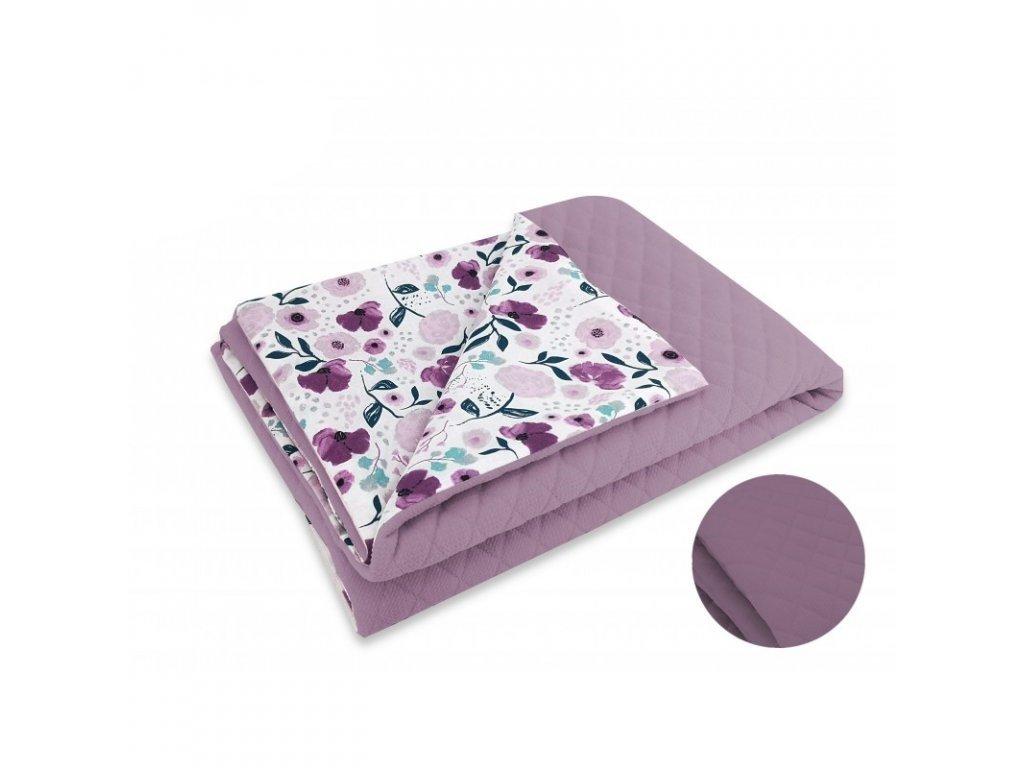 Miminu deka dečka pro miminko do postýlky do kočárku antialergenní hypoalergenní 135 100 cm velvet fialový růžový květy květiny květinový vzor pro holčičku