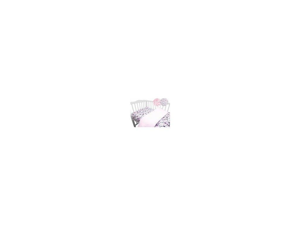 miminu povlečení dětské pro miminka do postýlky 120 90 135 100 velvet fialový květy květiny květinový vzor pro holčičku