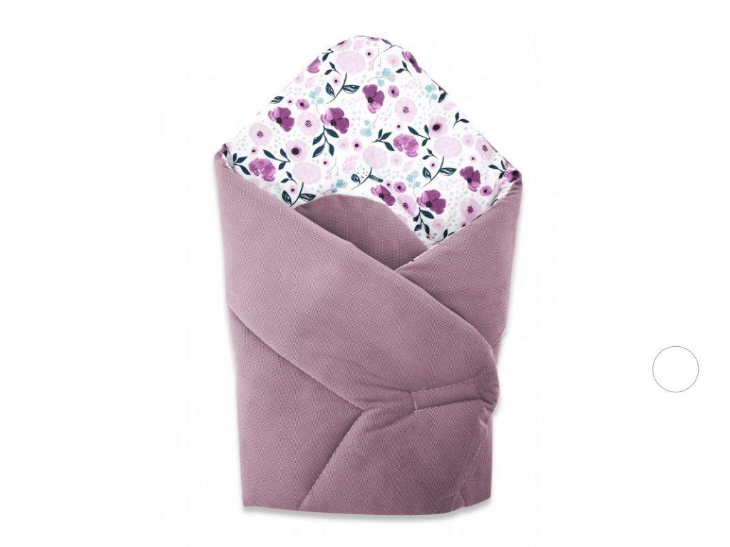 miminu zavinovačka rychlozavinovačka na suchý zip velvet fialový květy květiny květinový vzor pro holčičku