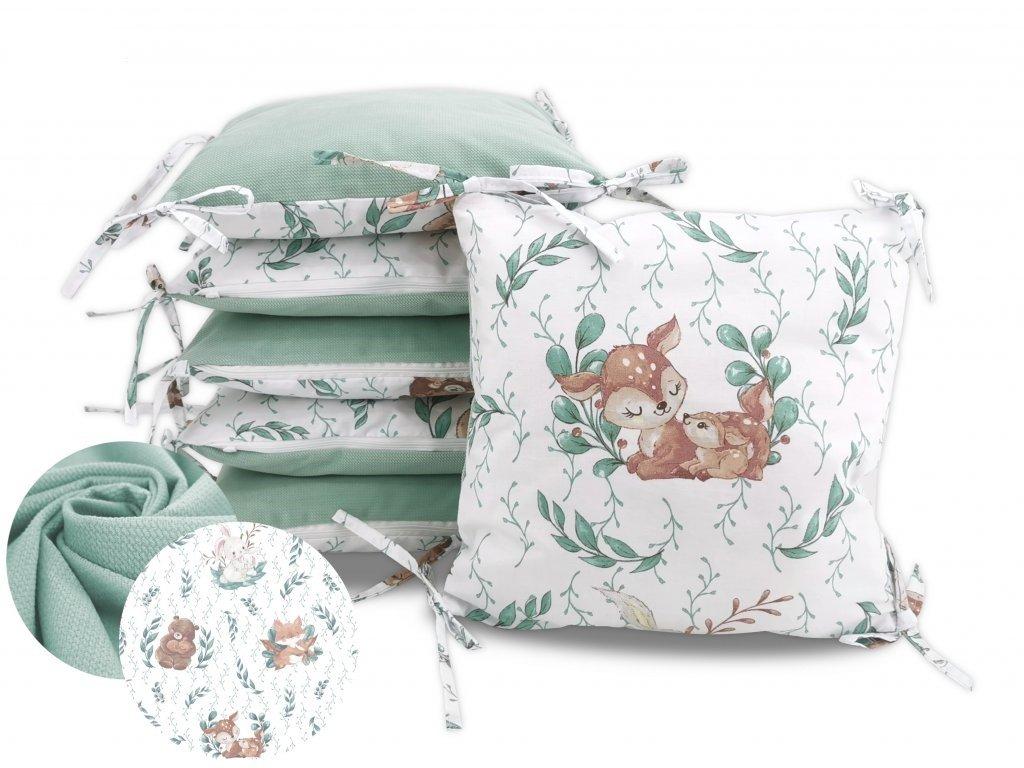 miminu polštářkový mantinel 6 ks do půlky postýlky na zavazování velvet zelená mentolová mint medvědí objetí medvěd zvířátka pro chlapečka pro holčičku univerzální neutrální