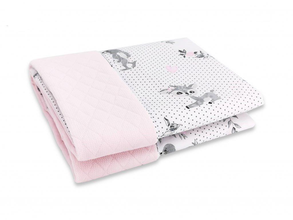 Miminu deka dečka pro miminko do postýlky do kočárku antialergenní hypoalergenní 100 75 cm velvet růžová kouzelné laně jelen pro holčičku
