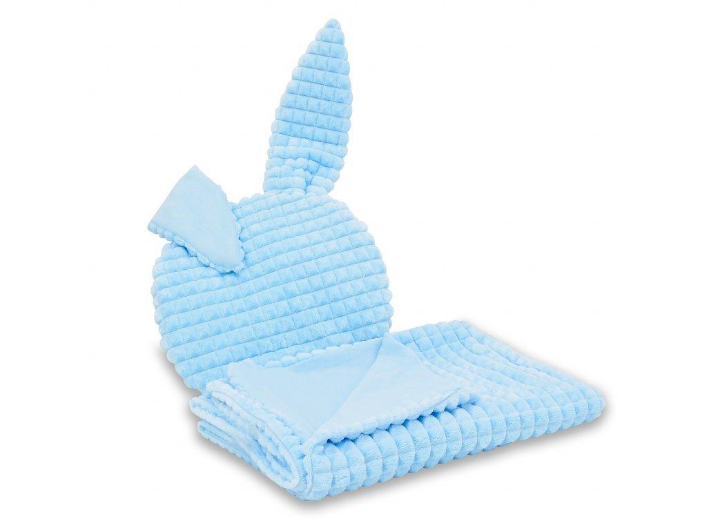 Miminu deka dečka pro miminko do postýlky do kočárku antialergenní hypoalergenní s polštářem s polštářkem s ušima s oušky 100 75 cm minky modrá Jersey bavlna bavlněná pro chlapečka