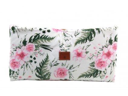Miminu rukávník na kočárek na procházky saňky voděodolný vodoodpudivý velvet růžová květy růžové květiny květinový vzor pro holčičku