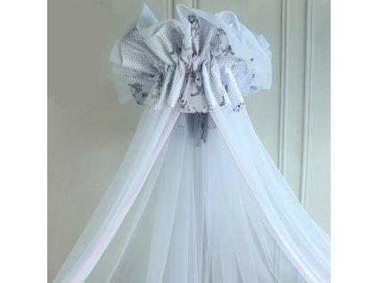 miminu nebesa baldachýn nad postýlku pro miminko bavlna kouzelné laně jelen bílá moskytiéra pro holčičku