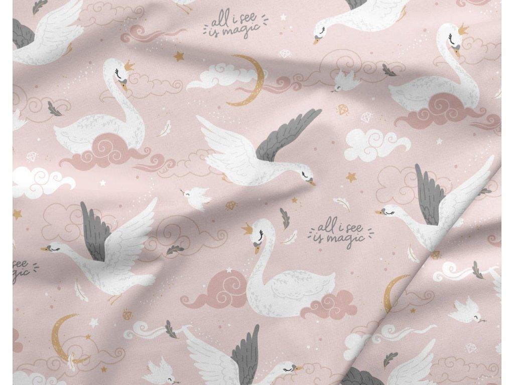 bavlna premium labutě magic