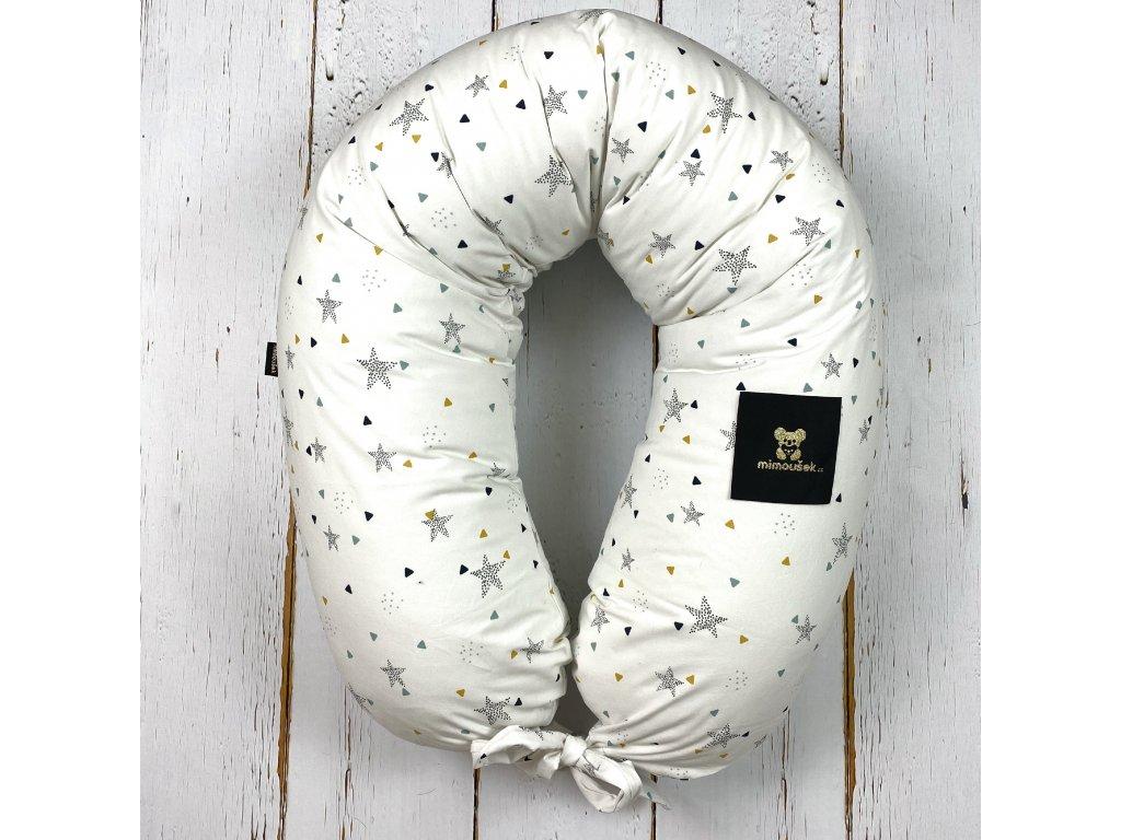 Kojící polštář MAXI printed hvězdy na bílé